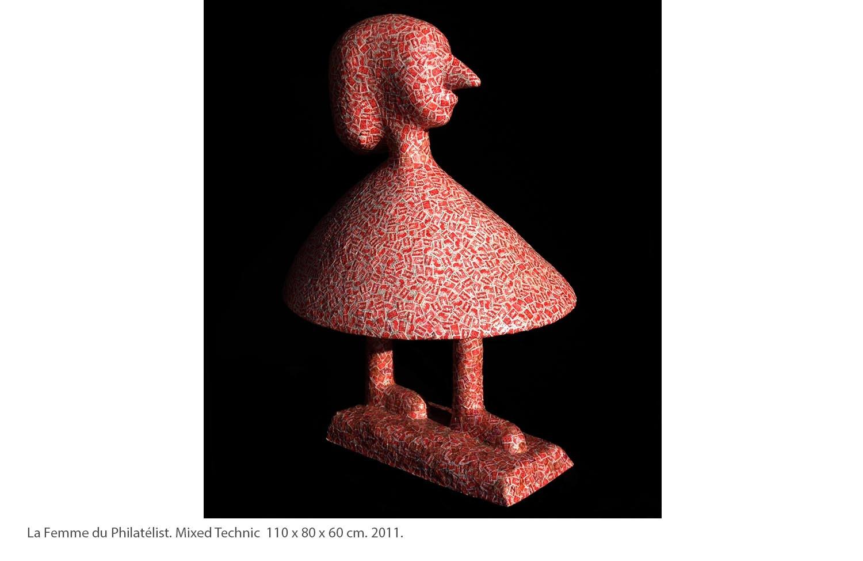 KAKO-La-Femme-du-Philatélist.-Mixed-Technic-110-x-80-x-60-cm.-2011.